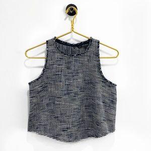ZARA Basic Blue Tweed Raw Edges Crop Top
